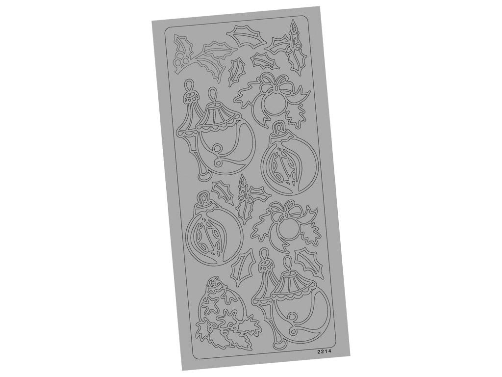 Kontūrinis lipdukas 2214 Sidabrinė Kalėdiniai papuošalai blister.