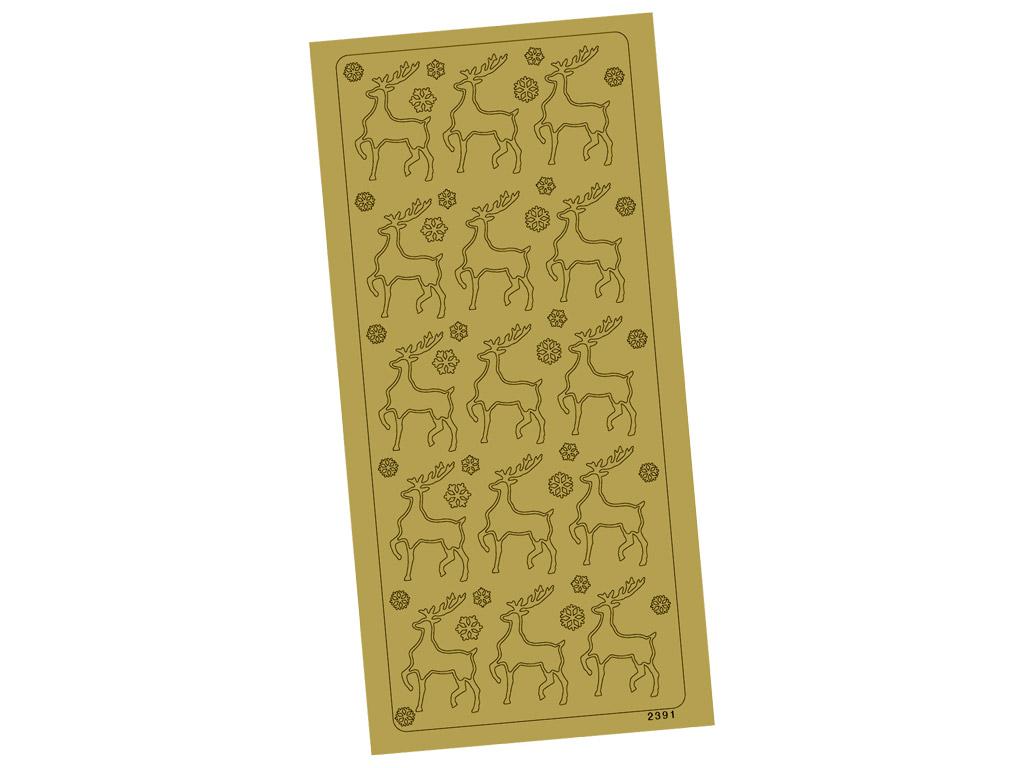 Kontūrinis lipdukas 2391 Auksinė Elniai blister.