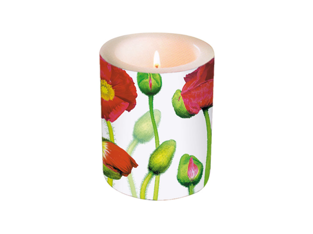 Žvakė d=10.5cm h=12cm Flourishing Poppies