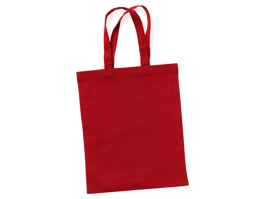Cotton shopping bag 24x28cm short handles passion red