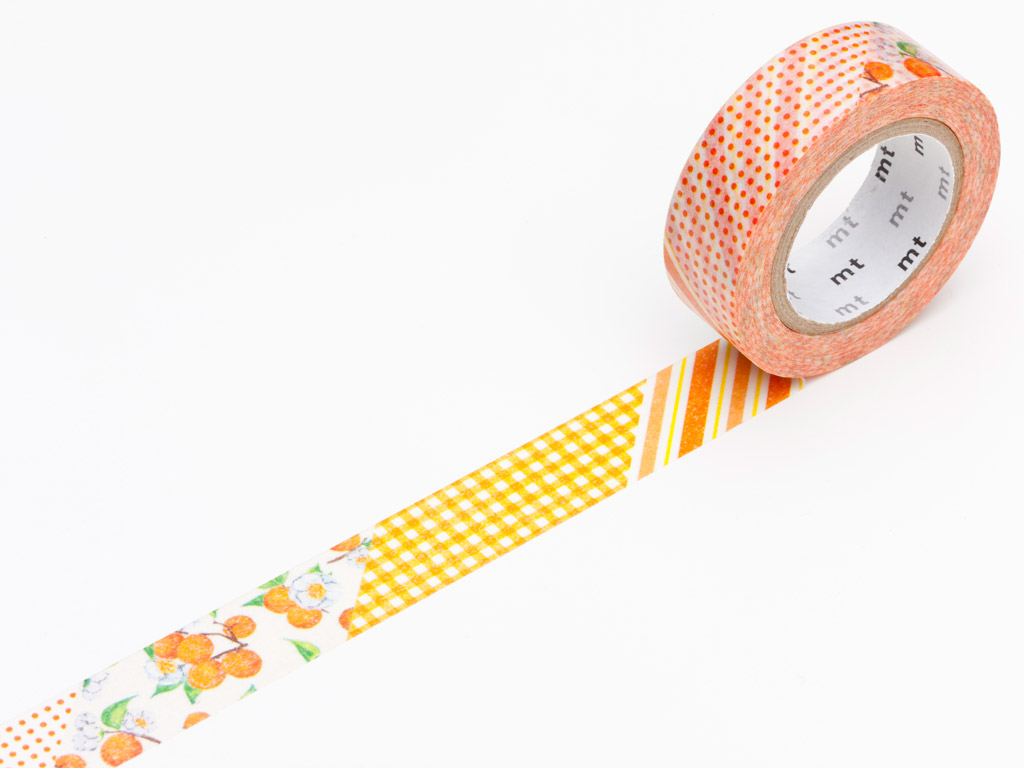 Washi teip mt ex 15mmx10m flower orange