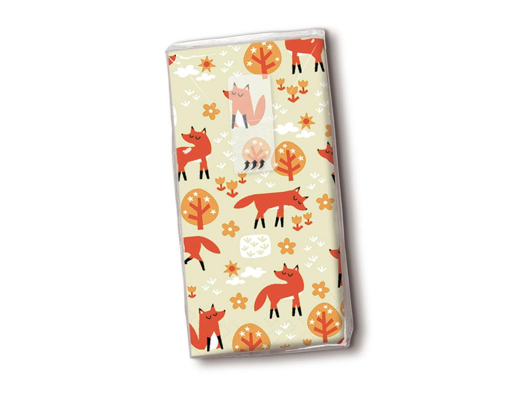 Popierinės nosinės 10vnt. 4 sluoksnių Foxes