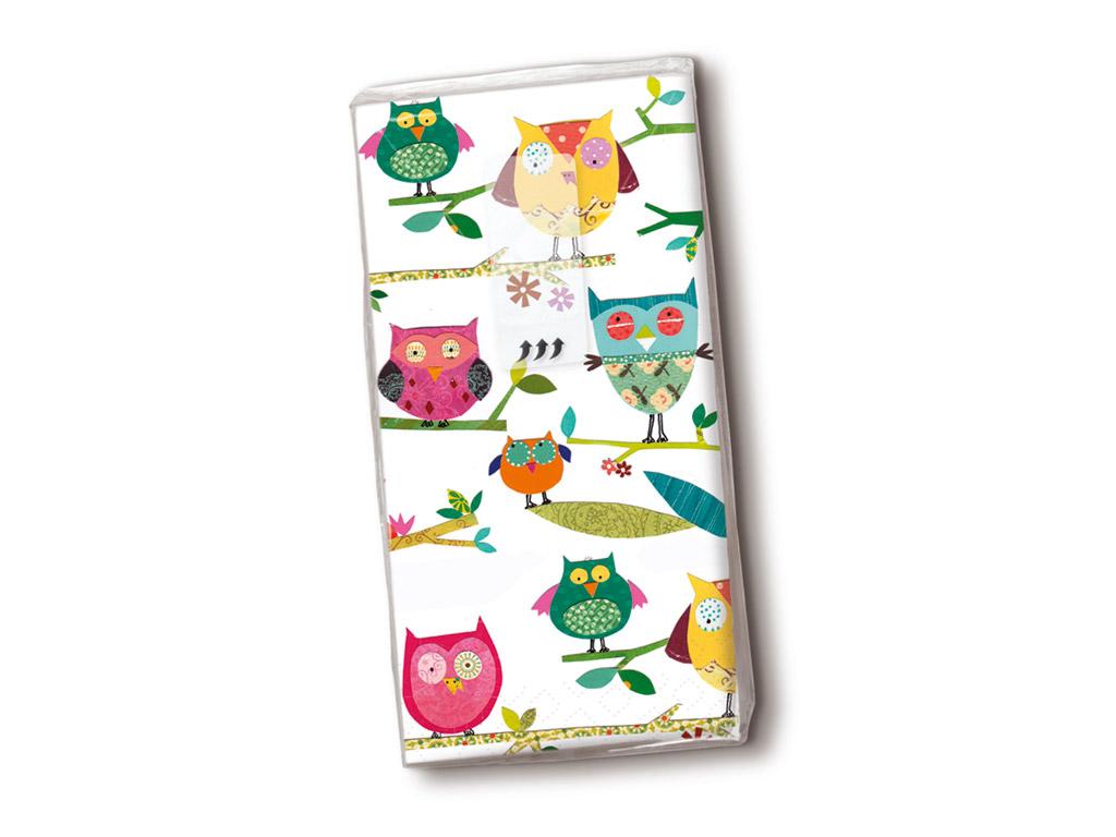 Taskurätikud 10tk 4-kihilised Colourful Owls