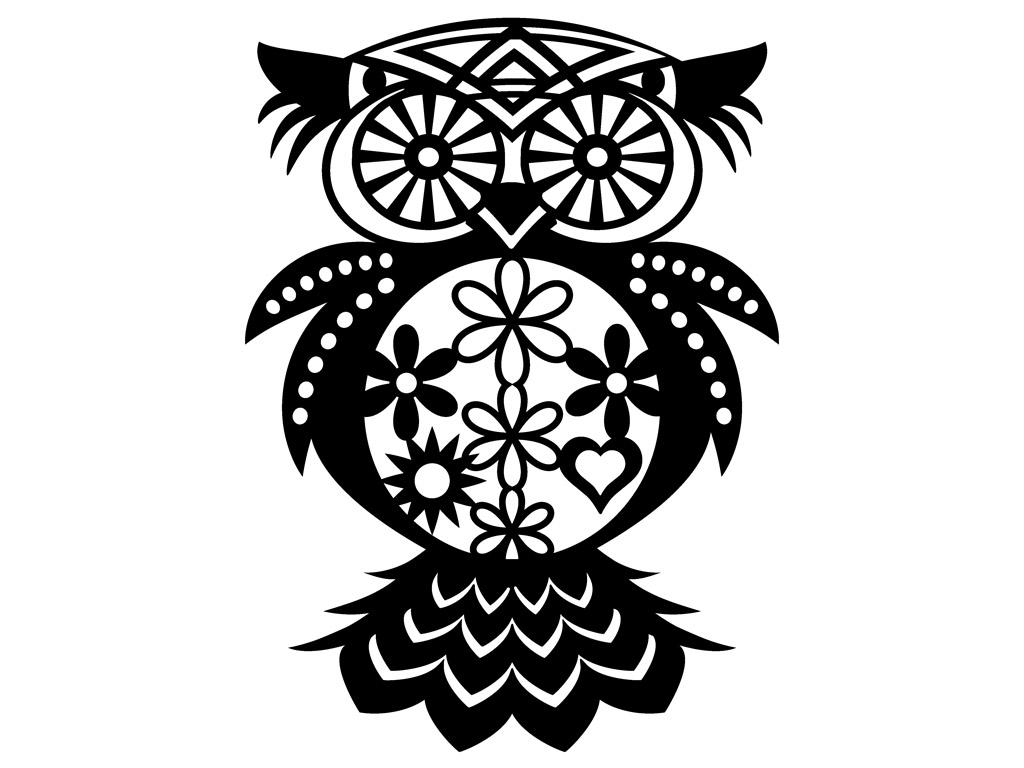 Šablonas Marabu Silhouette 30x30cm Flowered Owl