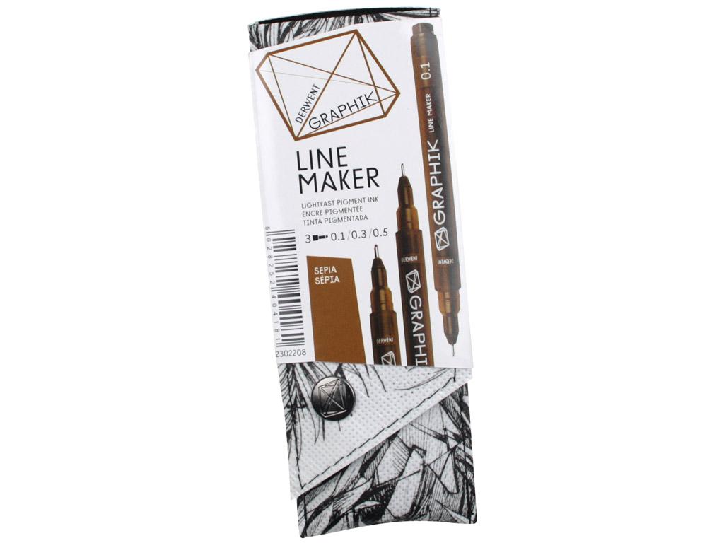 Tintpliiats fineliner Graphik Line Maker 3tk (0.1/0.3/0.5) sepia