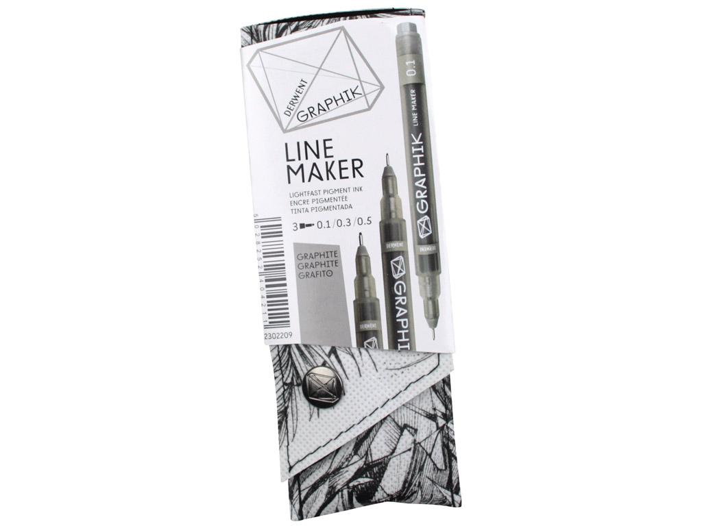 Tintpliiats fineliner Graphik Line Maker 3tk (0.1/0.3/0.5) hall