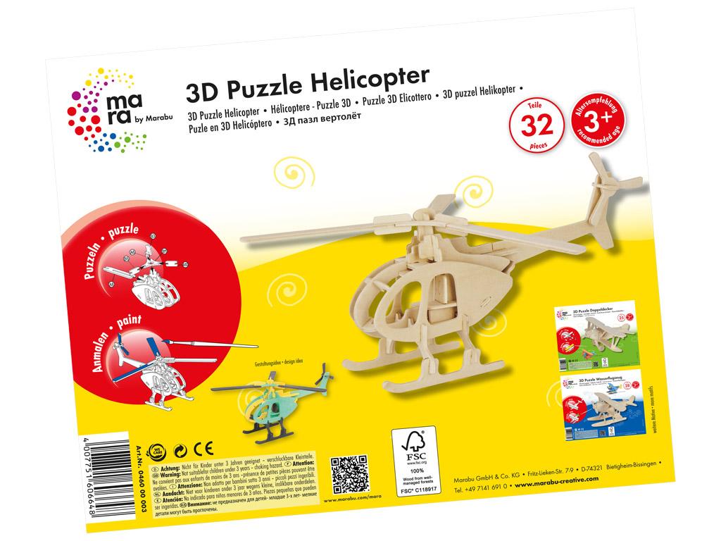 3D dėlionė mediniai Marabu Kids Helicopter 32 dalys