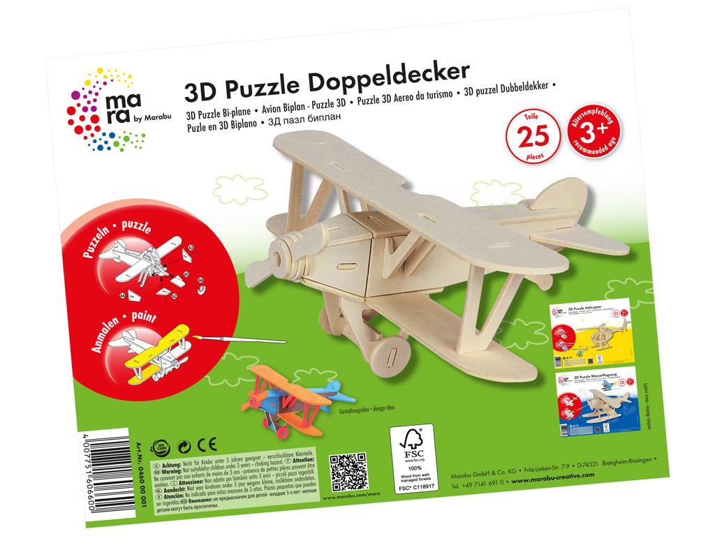 3D dėlionė mediniai Marabu Kids Bi-plane 25 dalys
