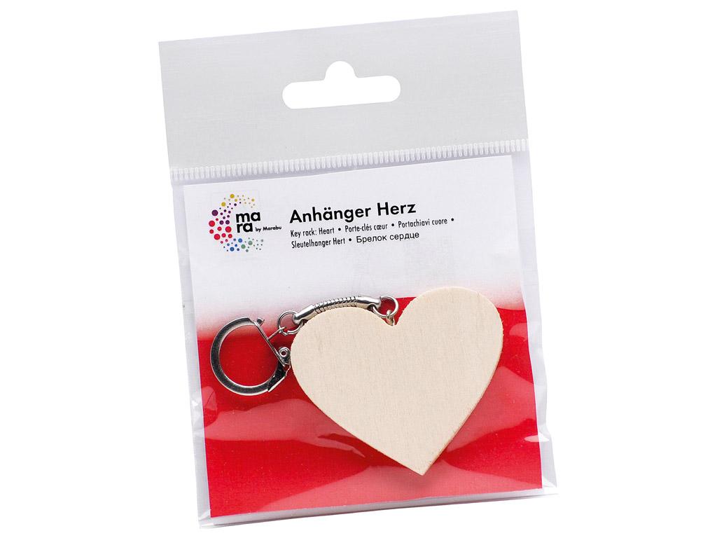 Atslēgu piekariņš koka Marabu Kids sirds h=5cm blisterī