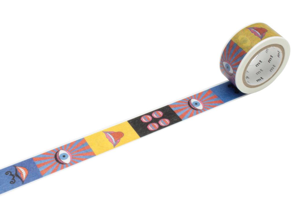 Washi dekoratyvi lipni juostelė mt Tadanori Yokoo 20mmx10m eye and mouth