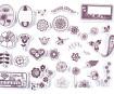 Spaudas Aladine Stampo Scrap 34vnt. Flowers + pagalvėlė antspaudams juoda