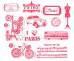 Spaudas Aladine Stampo Textile 13vnt. Paris + pagalvėlė antspaudams juoda