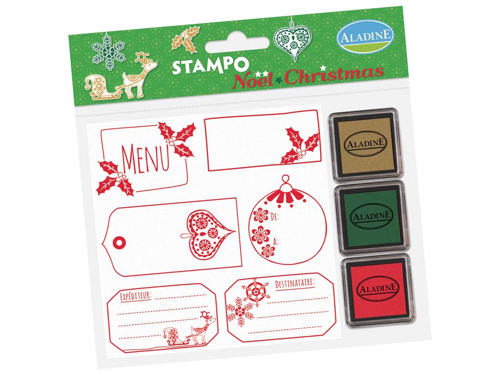 Spaudas Aladine Stampo Christmas 6vnt. Labels + pagalvėlė antspaudams (3vnt.) blister.
