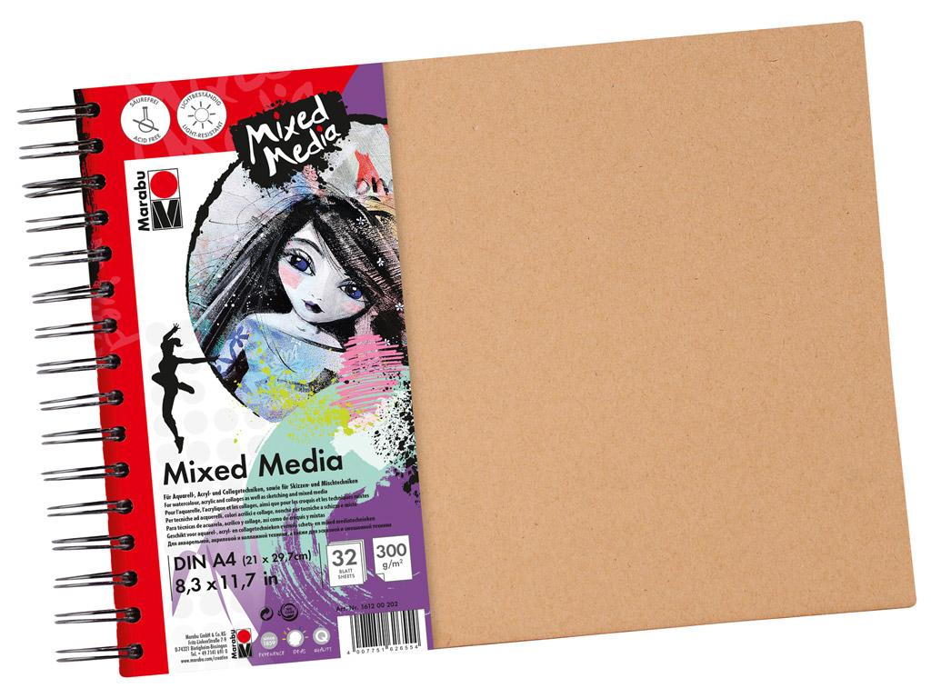 Bloknotas tapybai akriliniais dažais Marabu Mixed Media A4/300g 32 lapų spiralinis