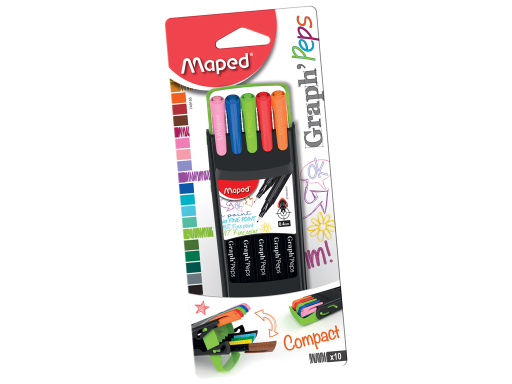 Tintpliiats fineliner Maped GraphPeps 0.4 Compact 10tk blistril