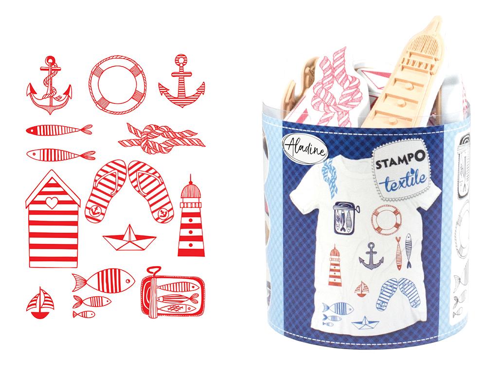 Spaudas Aladine Stampo Textile 13vnt. Navy + pagalvėlė antspaudams juoda