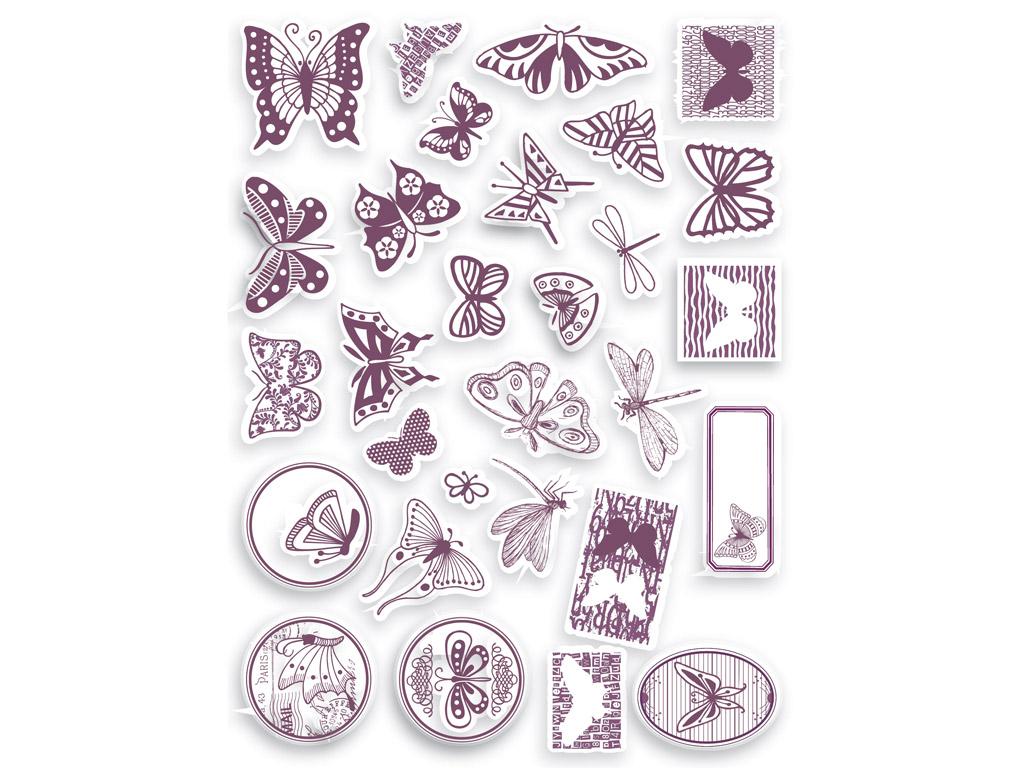 Zīmogs Aladine Stampo Scrap 29gab. Butterfly + zīmoga spilventiņš melna