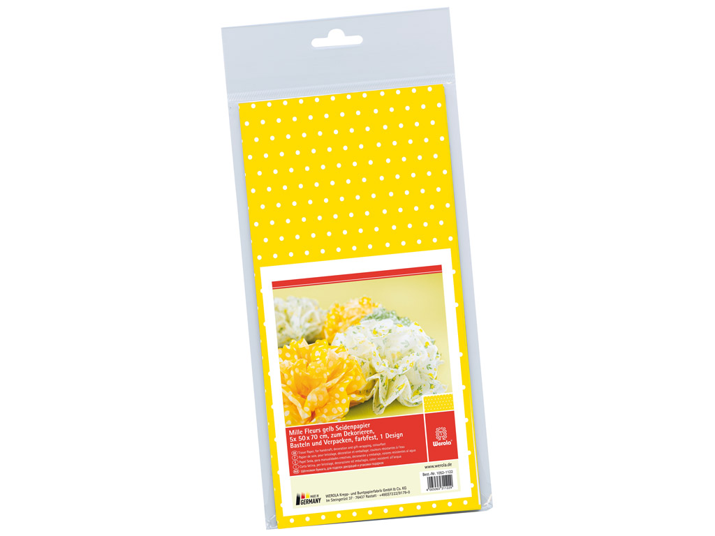 Tissue paper 50x70cm 5 sheets Mille Fleurs dots yellow