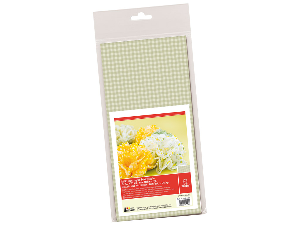 Tissue paper 50x70cm 5 sheets Mille Fleurs vichy squares yellow