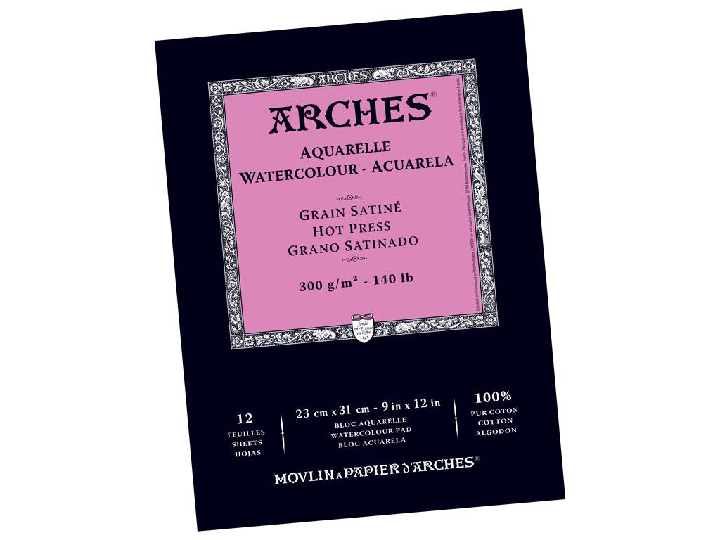 Akvarellplokk Arches 23x31cm/300g 12 lehte sile