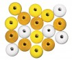 Wooden beads polished 12mm 32pcs yellow colours