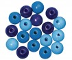 Wooden beads polished 12mm 32pcs blue colours