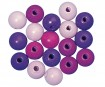 Wooden beads polished 12mm 32pcs lilac colours