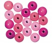 Wooden beads polished 12mm 32pcs pink colours
