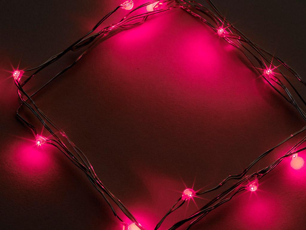 Lempučių girlianda Airam LED 20 raudona 1.9m sidabrinė viela 3xAA
