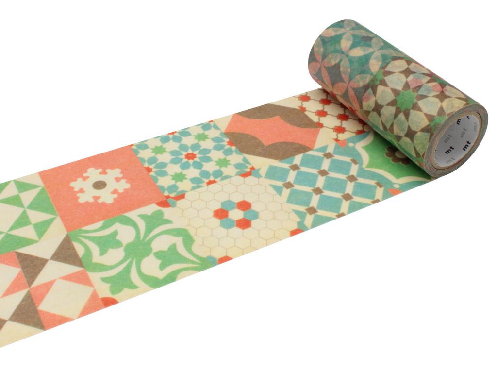 Washi dekoratyvi lipni juostelė mt casa deco 100mmx10m tile pattern
