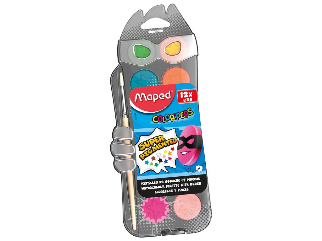 Akvarellvärv ColorPeps 12 nööpi+pintsel plastikkarbis