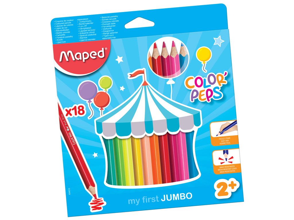 Värvipliiats ColorPeps Early Age Jumbo 18tk