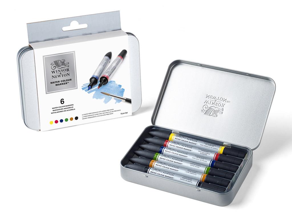 Akvarelinis markerių rinkinys W&N 6vnt. metalinė dėžutė
