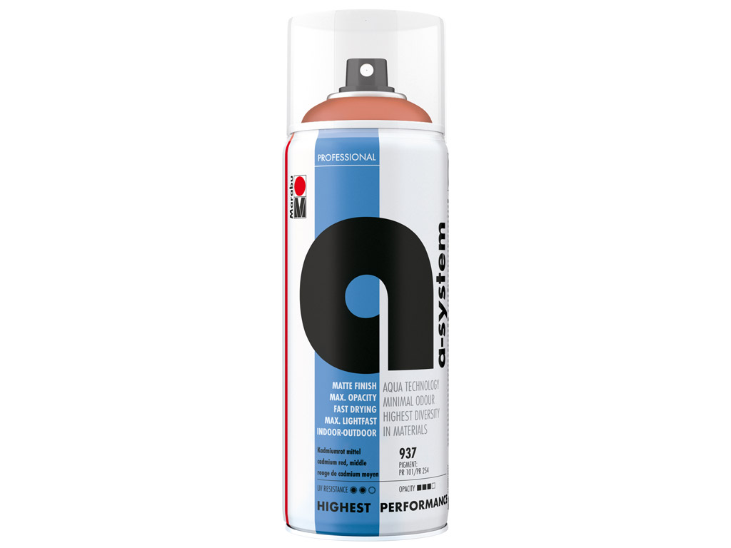 Aerosoolvärv a-system 400ml 937 cadmium red middle