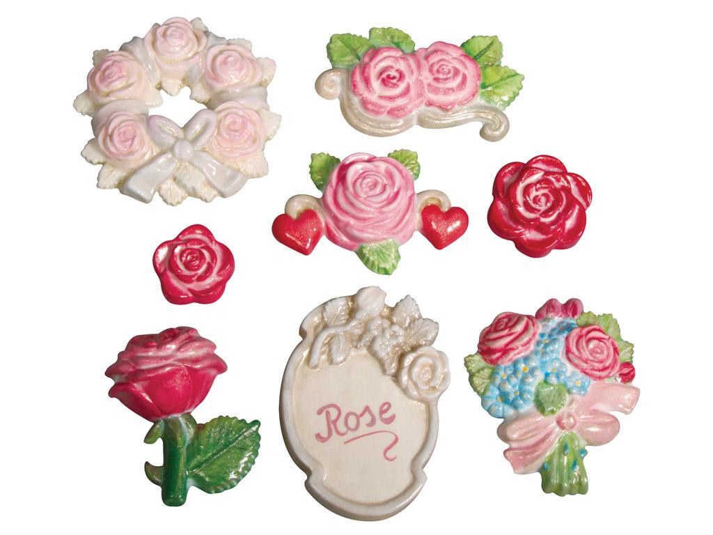 Forma Rayher su lygia nugarėle rožės 3.5-7cm 7 motyvai