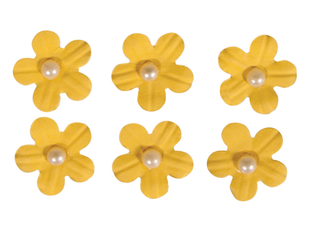 Dekoracijos iš popieriaus Rayher gėlių žiedai lipnus su karoliuko pusele 20vnt. geltona