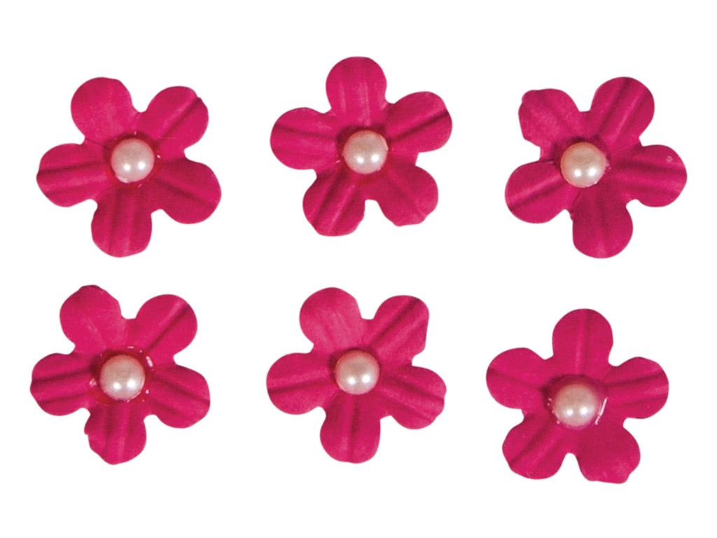 Dekoracijos iš popieriaus Rayher gėlių žiedai lipnus su karoliuko pusele 20vnt. rausva