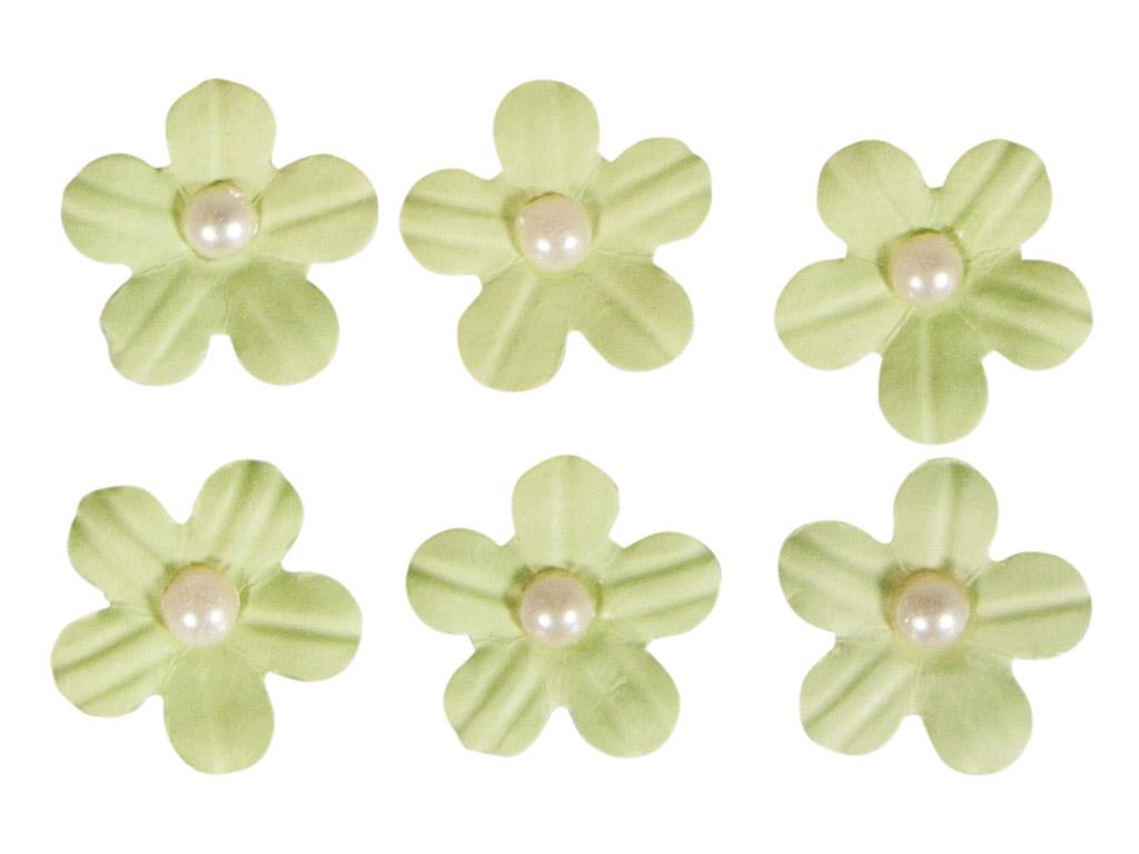 Dekoracijos iš popieriaus Rayher gėlių žiedai lipnus su karoliuko pusele 20vnt. šviesiai žalia