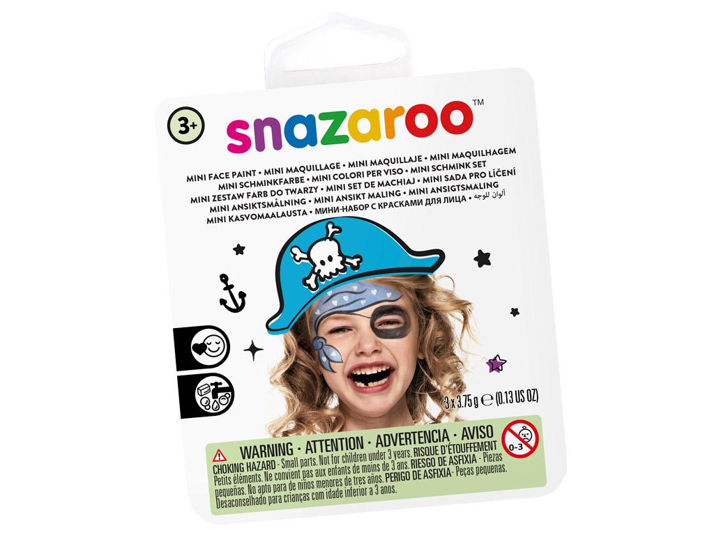 Veido dažų rinkinys Snazaroo Mini 3 spalvos+teptukas+kempinėlė Blue Pirate