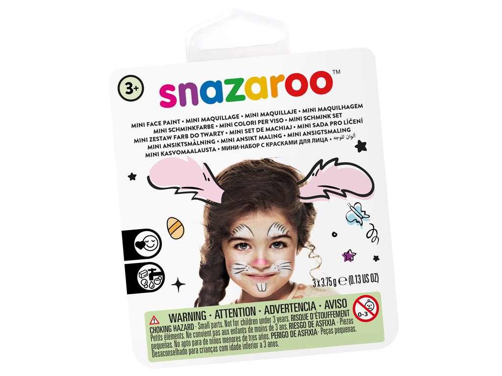Veido dažų rinkinys Snazaroo Mini 3 spalvos+teptukas+kempinėlė Bunny