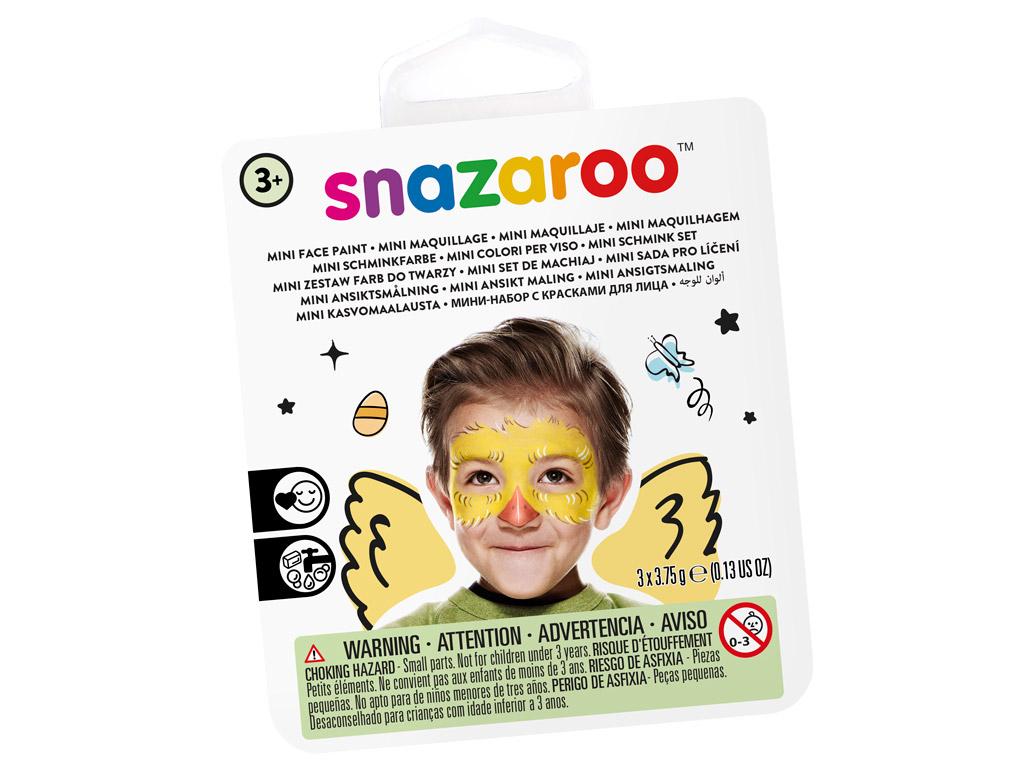 Veido dažų rinkinys Snazaroo Mini 3 spalvos+teptukas+kempinėlė Chick