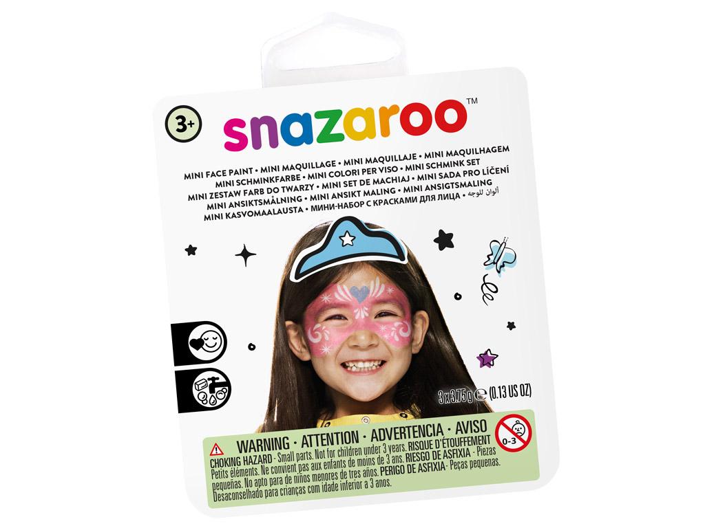 Veido dažų rinkinys Snazaroo Mini 3 spalvos+teptukas+kempinėlė Festive mask