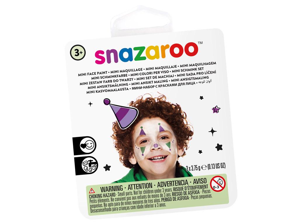Veido dažų rinkinys Snazaroo Mini 3 spalvos+teptukas+kempinėlė Jester