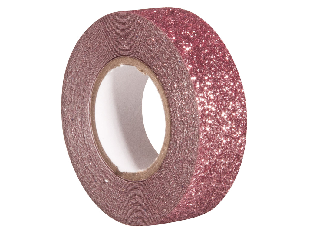 Glitter tape Rayher 15mmx5m antique pink