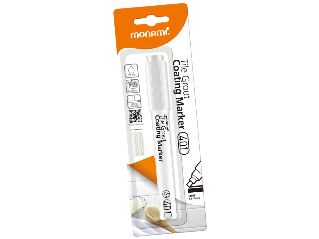 Tile grout coating marker Monami 401 1.5-4mm white+2 replace nibs blister