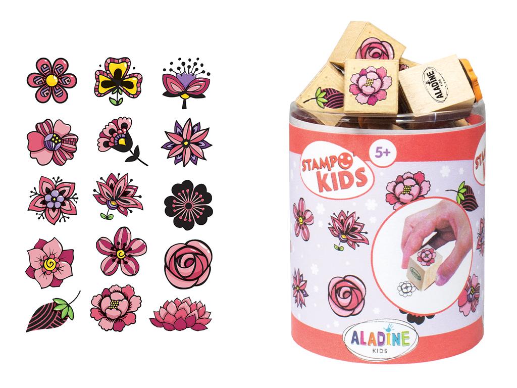 Spaudas Aladine Stampo Kids 15vnt. Flowers + pagalvėlė antspaudams juoda