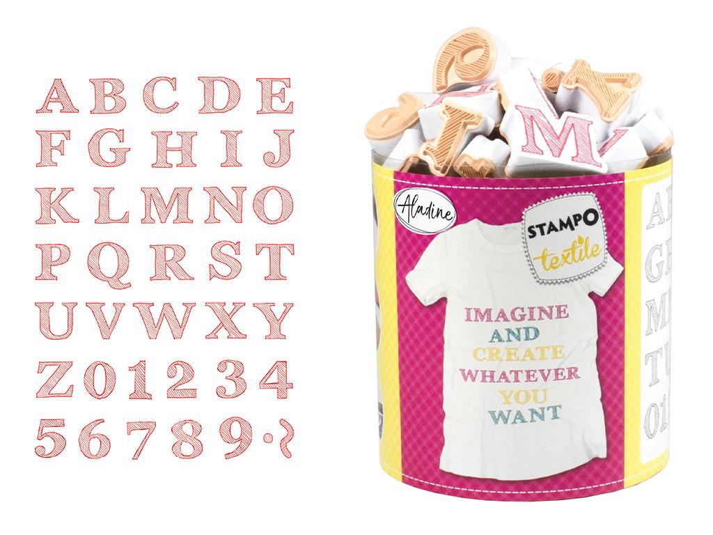 Spaudas Aladine Stampo Textile 38vnt. Alphabet Sketch + pagalvėlė antspaudams juoda