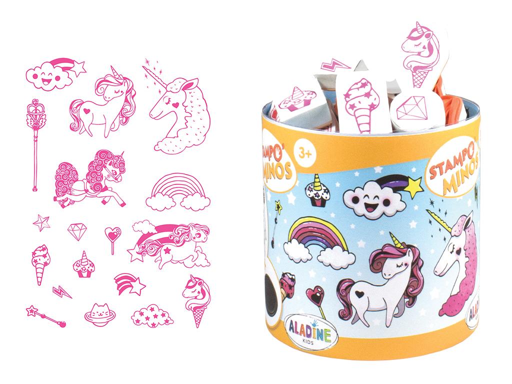 Spaudas Aladine Stampo Minos 18vnt. Unicorn + pagalvėlė antspaudams juoda