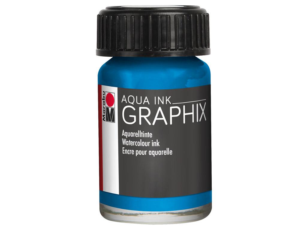 Akvarelinis tušas Graphix 15ml 056 cyan