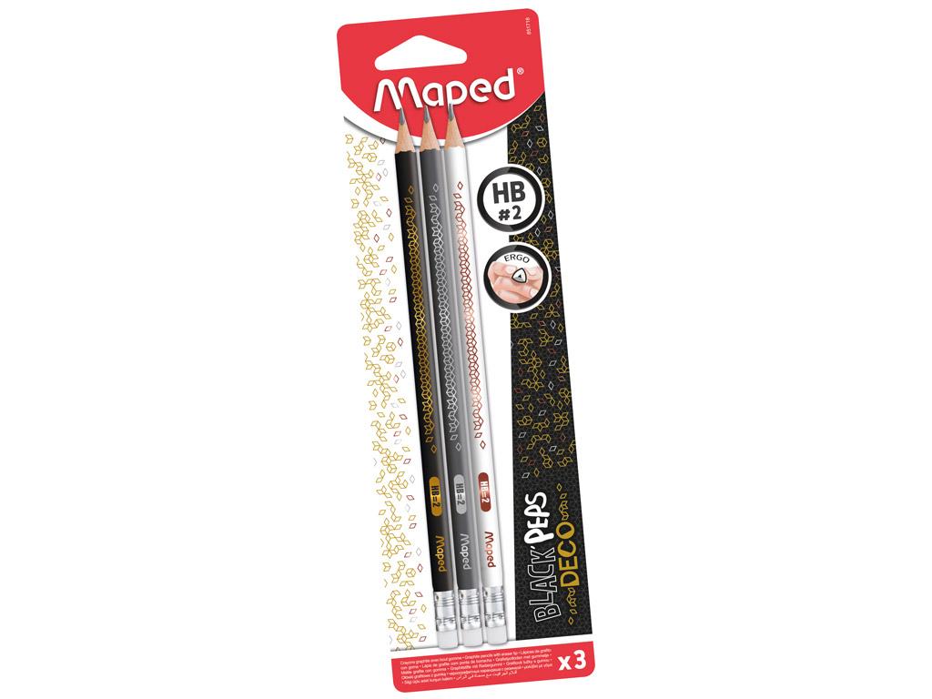 Harilik pliiats BlackPeps Deco kolmekandiline HB kummiga 3tk blistril